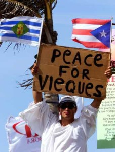 Man with Peace for Vieques sign