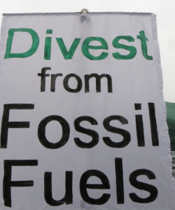 Divest from fossil fuels sign.